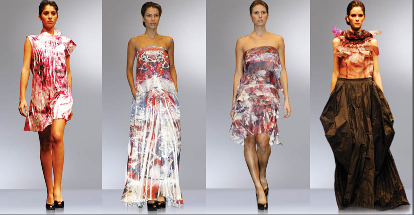 vestidos de María Elena villamil estampados con obras de carolina jaramillo